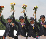 Young Riders Gold Medalists Podium Left to right Skyler Decker,Camilla Grover-Dodge, Amanda Beale Clement, Morgan Booth. Pic Brant Gamma.