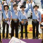 Newly crowned European Team Champions Italy, (L-R) Giovanni Masi de Vargas, Francesco Martinotti, Pierluigi Fabbri, Edoardo Bernadelli - FEI European Championships 2015 - Reining Team Final - Aachen, Germany - 14 August 2015