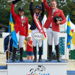 Wiener Neustadt, Austria gold for Ebba Larson Silver for Kaya Lüthi Bronze for Guido Klatte  - 2015 August 16:  during Young Riders 2nd Round Individual Final competition at European Jumping Championship for Children, Juniors, Young riders at Lake Arena. (photo: © Herve Bonnaud)