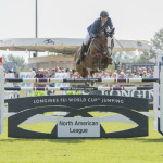 Richard Fellers (USA) and Flexible win the Longines FEI World Cup™ Jumping North American League, at Thunderbird Show Park, in Langley B.C. Canada, August 16, 2015. (FEI/ Rebecca Berry)